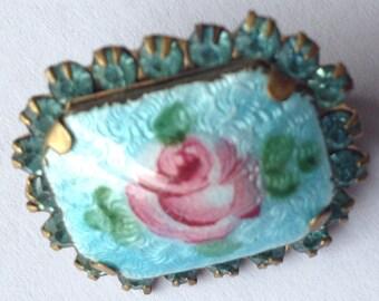 Sale Vintage Blue Guilloche Enamel Rose Rhinestone Brooch