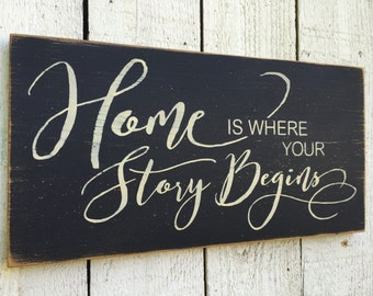 """Home is where your story begins distressed 9"""" x 18"""" wood sign, wedding sign, wedding gift, family picture wall decor, our story begins,"""