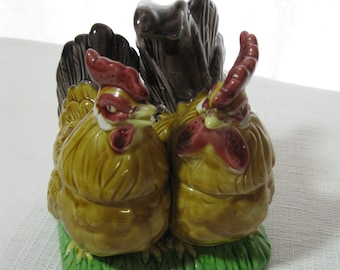 Pair of Joined Rooster Chicken Condiment Dishes