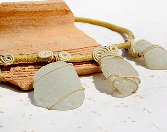 White Sea Glass Necklace. Sea Glass Jewelry. Handmade Jewelry, Boho Beach Glass Necklace. Rustind Necklace for Her Free Shipping from Israel