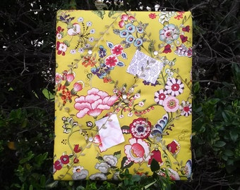Pin board, Jungalow Style - vines, Alexander Henry Print Fabric, French Memo Board, Colorful Green Garden Floral, Kitchen Message Center