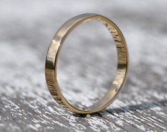 18K Yellow Gold Hand Forged 3mm Band, Smooth Polished Texture, Sea Babe Jewelry