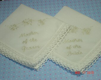 Mother of bride, groom, wedding handkerchief, elegant keepsake, parent gift, bride to mom, heirloom gift, ecru hanky color, gift for mom