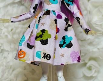 Monster High long sleeved dress ( Pink Halloween cupcakes )
