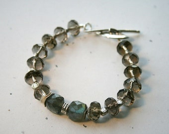 TRIDE Smokey Quartz, Labradorite and Sterling Bracelet