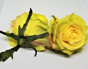 Yellow silk flowers etsy 1 piece medium artificial yellow rose flower artificial rose yellow rose head mightylinksfo Images