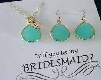 8 Green Initial Bridesmaid Necklace and Earring set, Bridesmaid Gift, Sea Foam Gemstone, 14k Gold Filled, Initial Jewelry, Personalized