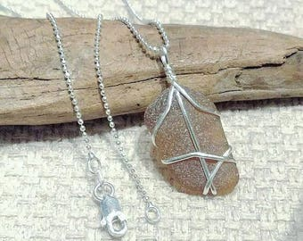 Sea Glass and Sterling Silver Pendant with Sterling Silver Chain