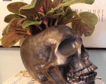 Ceramic Skull Planter, Matte Black Skull Succulent Planter, Ceramic Skull Planter, Indoor Plant Pot, Human Skull Planter, Cactus Planter