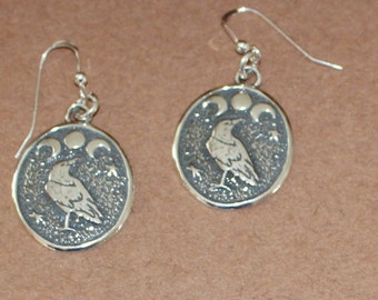 Earrings - Sterling Silver RAVEN under TRIPLE MOON  - Bird, Totem