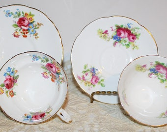 Pair Bone China Teacups & Saucers Collingswood and Staffordshire England White with Random Bunches of Pink Roses