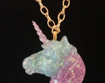 Unicorn Glitter Resin Blue and Purple Pendant Necklace Handmade One of a Kind Fantasy Magic