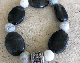 Agate and Jade beads with a Beautiful Silver Bead from Bali.
