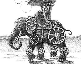 Mechanical Elephant Original Pen & Ink Drawing