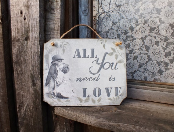 All you need is love sign Wooden wall decor Rustic Wedding