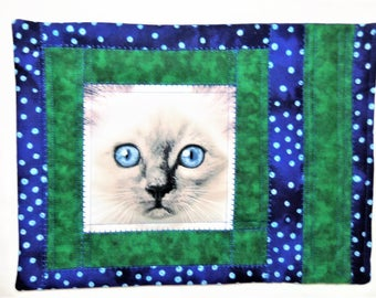 Cat Snack Mat, Quilted Mug Rug, Quilted Snack Mat, Place Mat Quilted, Coaster Quilted, Quilted Coffee Mat, Wall Hanging, Sewnsewsister