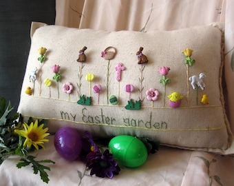 My Easter Garden Pillow (Cottage Style)