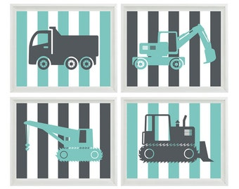Construction Trucks Nursery Art - Boy Room Gray Aqua Stripes - Wall Art Print Home Decor    Prints