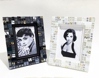 MOSAIC PICTURE FRAME, Black Gold Picture Frame, Wedding Frame Gift,  Housewarming Gift, Office Decor, Decorative Photo Frame
