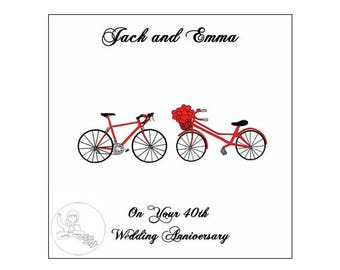 Handmade Personalised 40th Wedding Anniversary Card Road Bikes Bicycle Hearts Ruby