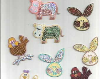 11 pc Assorted Birds Ducklings Hippo Bunny Chicks Roosters Sequins Colors Mixed Iron On Patch Applique 062416