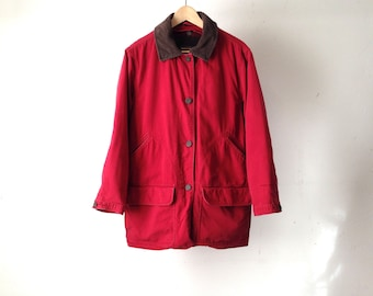 TWIN PEAKS oxford denim long coat 90s jacket coat red WOOLRICH with contrast collar denim coat