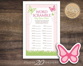 Instant Download Butterfly Word Scramble Game, Printable Butterfly Baby Shower Word Scramble, Green Pink Baby Shower Word Scramble 61A