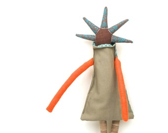 African modern ragdoll , Cuddling doll , whimsical doll , primitive doll , Handmade fabric doll , popular stuffed toy , Textile plushie toy