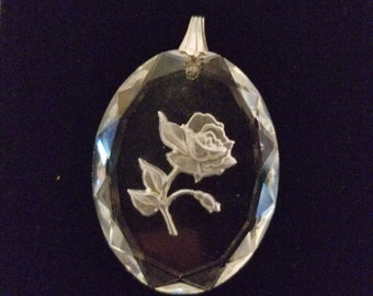 Crystal heart pendant, carved, silver, glass