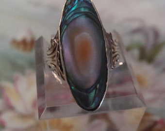 Colorful Long Sterling Silver Blister Pearl Ring Size 5 1/2