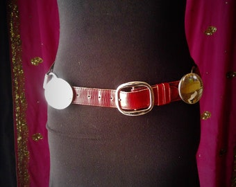 Red leather tribal fusion belt
