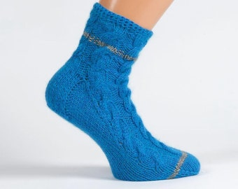 Ladies blue pure cashmere handmade bed socks by Willow Luxury - (to fit ladies shoe sizes UK 4-6, US 6-8, European 37-39)