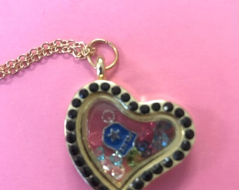 Police theme magnetic locket necklace