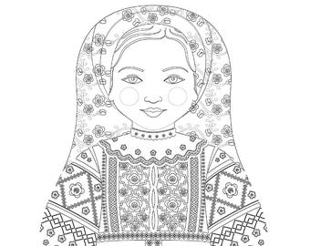 Belarusian Matryoshka Coloring Sheet Printable file