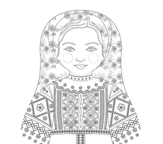 Belarusian Doll Folk Dress Coloring Sheet Printable Matryoshka