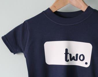 2nd birthday tshirt, second birthday top, birthday present, children's tshirt, shirt, blue shirt, birthday gift, personalised tshirt