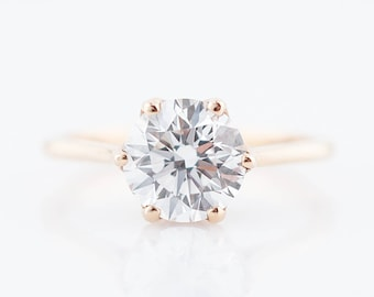 Engagement Ring Modern GIA 1.71 Round Brilliant Cut Diamond in 18k Rose Gold