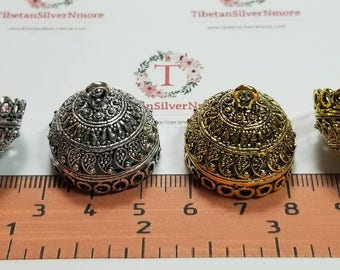 2 pcs per pack 24mm outside 16mm depth 20mm opening Indian style Filigree Paisley Tassel Findings Antique Gold or Silver Lead Free Pewter