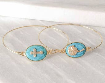 Gold plated Bangle Bracelet with cross turquoise