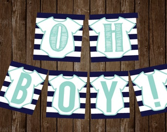 OH Boy! DIY Baby Shower Banner Mint and Navy