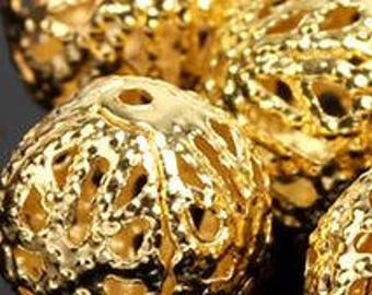 Gold Hollow Beads - 50 pieces - 8mm - Bead Supplies