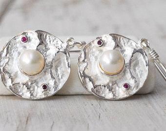 White Pearl Earrings, Pearl and Rubies 925 Silver Round Dangle Earrings, June Birthstone Earrings, Pearl Wedding, Bridal White Pearl Jewelry