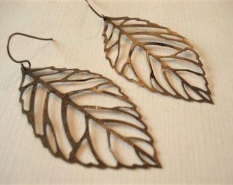 Large Brass Leaf Earrings Spring Earrings Filigree Leaf Earrings Leaf Jewelry Leaf Earrings