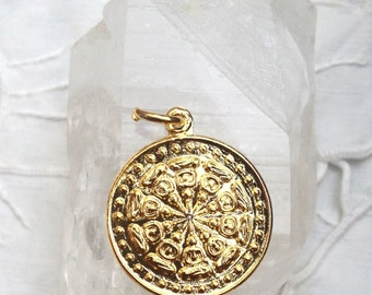 Copper dharma wheel pendant from thailand 1 inch from aprilmelodys gold plated dharma wheel pendant from thailand 1 inch aloadofball Gallery