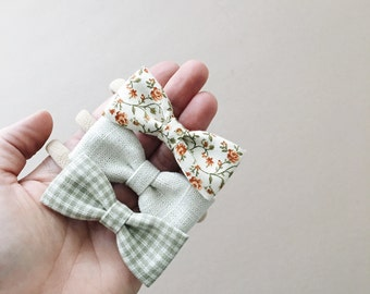 mini bows, baby bows, floral headband, nylon headband, linen