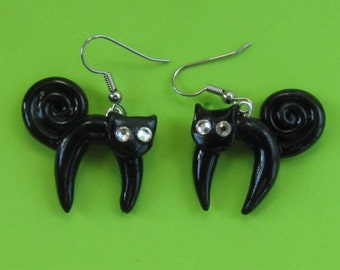 Black Cat Halloween Dangle Earrings - Swarovski Crystal Eyes - Jewelry for Woman Gift for Teacher Mom Wife Daughter Halloween Fun  Jewelry