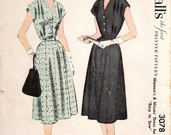 1950s Dress Pattern - Vintage Pattern McCall's 3078 - Bust 37 Womens Half Size Shirtwaist Shirtdress