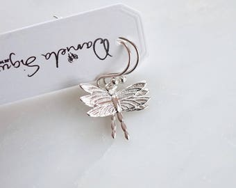 Small dragonfly earrings, silver plated