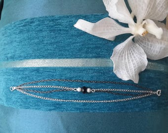Bracelet chains, silver and black, black facet bead