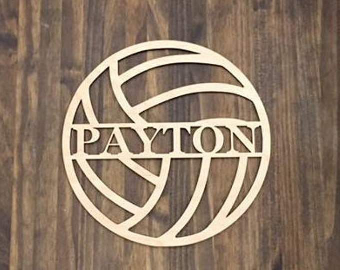 """12"""" Wood Volleyball Last Name Team Name Laser Cutout Sport Shape Unfinished"""